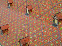 Dakruit (Palingzp) Tags: roof red france color colour green tile groen stones colorfull tiles frankrijk rood roofing dak steen kleurrijk dormer besanon stenen colourfull dakpan dakpannnen