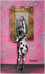 Camden Street Art (Mabacam) Tags: pink streetart london girl wall graffiti stencil mural camden monalisa wallart urbanart frame freehand piece aerosolart spraycanart spraycan stencilling 2015 dotmaster