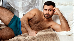 1041 (rrttrrtt555) Tags: hairy armpit muscles hair fur beard bed bedroom eyes arms underwear legs masculine chest lounge sheets pillow attitude briefs stare curtains flex stubble cockeyed