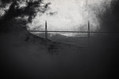 Millau Viaduct - storm clearing (Stu G2006) Tags: white storm black wet rain clouds canon eos viaduct millau 500d
