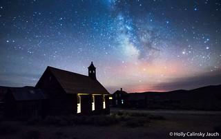 Methodist Church lit up from inside
