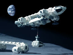 EAGLE 08 LEGO ((K_A) King_Arthur) Tags: show moon lune one tv noir lego eagle space 1999 modular scifi spaceship alpha moonbase ideas cosmos spacecraft transporter aigle