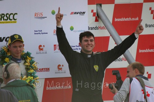 Series Champion Aaron Thompson celebrates at the Fiesta Junior Championship, Brands Hatch, 2015