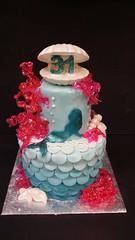 Mermaid cake (dragosisters) Tags: cake coral shell scales mermaid mermaidscales