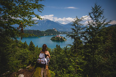 Overlooking Lake Bled (George Allard Photography) Tags: travel trees sky lake holiday nature water view slovenia bled