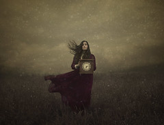 From Hour To Hour (Maren Klemp) Tags: fineartphotography fineartphotographer darkart color watch painterly texture woman selfportrait portrait prints nature outdoors snow winter vintage ethereal expressive conceptual surreal art reddress movement windy field clock