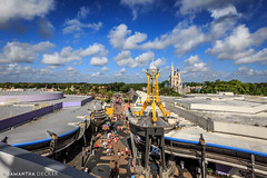 Looking Down at Tomorrowland (Samantha Decker) Tags: astroorbitors canonef1635mmf28liiusm canoneos6d fl florida lakebuenavista magickingdom orlando samanthadecker tomorrowland uwa wdw waltdisneyworld themepark