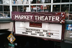 Market Theater Marquee (Anne Abscission) Tags: markettheater pikeplacemarket seattle washington downtown marquee city urban neon sign oldsigns summer olympusmjuzoom130 fujifilm fujicolor fujisuperia200 filmphotography filmisnotdead ishootfilm analog 35mmfilm compact35 postalley outdoor
