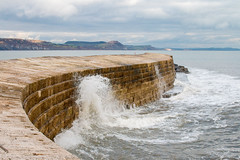 The Cobb, Lyme Regis (Keith in Exeter) Tags: thecobb harbour wall coast bay lymeregis wave break stepped sea water splash cliff cloudy seascape landscape outdoor dorset england curve protect