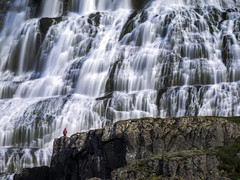Blue Wall (andywon) Tags: big cliff dynjandi flow iceland impresive landscape lonely nature outdoor person rock small touristdestination travel water waterfall westfjords wonderofnature