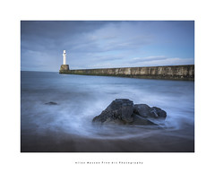 Blue Hour Breakwater..(Explored) (LoneWolfA7ii) Tags: longexposure breakwater torry aberdeen water sea rock waves lighthouse sony a7ii art light blue scotland sand beach clouds sky dusk seascape