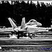 Nik'd Up B&W of Growler Touching at OLF -