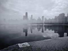 Mist (ancientlives) Tags: chicago illinois usa travel lake lakemichigan lakefronttrail landscape architecture downtown skyline skyscrapers cloud mist fog weather sunday january 2017 winter walking mono monochrome blackandwhite bw sepia