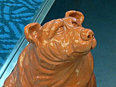Good Doggy (knightbefore_99) Tags: yvr airport vancouver bc canada dog doggy good cool awesome art display pottery sculpture design brown glass case