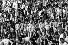 Group of naga sadhus on a ghat during Kumbha mela (Mivr) Tags: india kumbha mela ujjain 2016 blackandwhite simhastha people sadhu naga naked