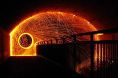 Brennende Stahlwolle I (Silaris Inc.) Tags: nacht geländer urban verbrennen tunnel unterführung autorevuenon50mmf18 funken bewegung stahlwolle langzeitbelichtung funkenflug