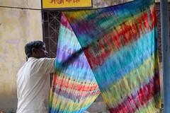 Batik Making (Stuart Borrett) Tags: india cloth dye santiniketan westbengal art rainbow light backlit rural development batik dry hang