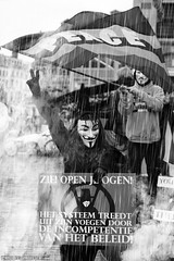 Open your eyes and see how incompetent leaders are destroying the world. (Red Cathedral uses albums) Tags: sonyalpha a77markii a77 mkii eventcoverage alpha sony colorrun sonyslta77ii slt evf translucentmirrortechnology redcathedral streetphotography belgium alittlebitofcommonsenseisagoodthing activism protest blackandwhite zwartwit noiretblanc occupy anonymous opawakening gent riot mask maskedfaces vforvendetta guyfawkes