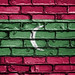National Flag of Maldives on a Brick Wall