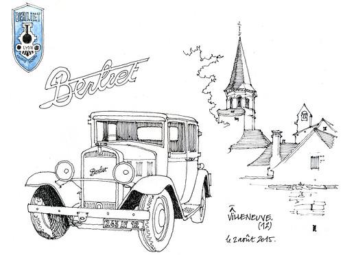 12 Villeneuve de Rouergue076 (gerard michel) Tags: auto france sketch croquis berliet ancêtre