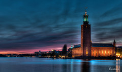 City Hall - Stockholm (stevebfotos) Tags: longexposure night river sweden stockholm cityhall hdr riddarfjärden movingwater photomatix stockholmcounty
