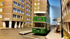 'Eastern' Daimler Fleetline at The Towers. (ManOfYorkshire) Tags: people bus nbc estate towers stop highrise blocks eastern diorama efe daimler fleetline detailed 176 repaint oogauge vrc533g