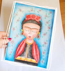 illustrazione frida matite colorate su cartoncino