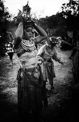 A performer prepares for a performance of the Ramayana at Ulu Watu in Bali, Indonesia