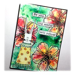 Card with stamps from Stampotique/Stampendous (Stampinkie) Tags: handmade stampendous rubberstamping handmadecard stampotique brusho