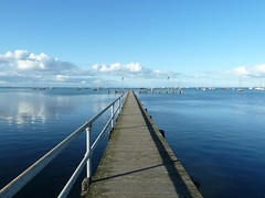 The Pier (Liseo) Tags: blue shadow sea sky reflection clouds boats pier australia victoria reflet vic geelong australie 2015