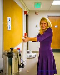 Shannon O'Donnell Prepping the Coffee (AvgeekJoe) Tags: woman coffee smile lady nikon blonde professor dslr d5300 shannonodonnell nikond5300