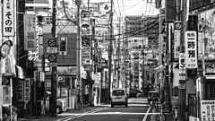 Chuo Street, Saga, Japan  (Mr. Ansonii) Tags: bw japan asia downtown wires   izakaya backroads saga kyushu    snackbars  chuou   doori panasoniclumix  sagacity sagaprefecture      hostessbars  shirayama  ruby10
