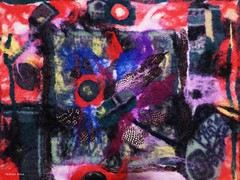 FiberArt. Nuno felting (wool&silk) (pestinairina) Tags: abstract art wool painting arte silk feltro fiber astratto textil nunofelting