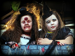 Double trouble (* RICHARD M) Tags: street costumes halloween portraits facepainting togetherness weird scary blood witch zombie makeup parades eerie spooky together portraiture gore haunting witches zombies ghostly mischief argh fancydress southport uhoh backlighting gruesome frightening doubletrouble gory birdsofafeather merseyside streetportraits sefton spooks ghoulish ghouls ghostlike paintedfaces streetportraiture gruesometwosome frightnight halloweenmakeup bloodied terribletwins flyawayhair backlithair spookport spookportshalloweenparade intimidatinginfants haircurlng