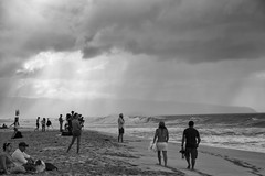 Pipeline (Guy: Jussum Guy) Tags: ocean people blackandwhite beach monochrome weather hawaii waves oahu surfing northshore pipeline ehukaibeachpark pentaxk3