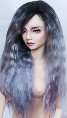 """wig (9-10"""") commission (SophyMolly) Tags: girls black fashion nude switch grey outfit doll gray goat curly fantasy wig future bjd angora artdoll custom soom commission abjd faceup uhui"""