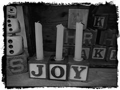 JOY (clarkcg photography) Tags: toys blocks candles letters spell joy season yearly christmas xmas yule winter solstice kwanzaa hanukkah ramadan 7dwf blackwhitethursday7dwf hatties house vintage market