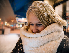 inches and falling (almostsummersky) Tags: night snowfall winter winterstorm street scarf nose maine droplets snow girl portland face coat fortis snowing bokeh snowflakes blonde snowstorm hair unitedstates us