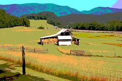 14-3150-p4a (George Hamlin) Tags: virginia arcadia posterized rural farm barn hay bales fence grass mountain backdrop hills bucolic peaceful serene colorful photo decor george hamlin photography shenandoah valley