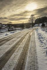 Sundown (TrotterFechan) Tags: snow ice sunset road tree