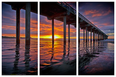 A Triptych of Scripps Pier in La Jolla, California, USA (Sam Antonio Photography) Tags: lowtide landscape scrippspier lajolla sandiego seascape ocean water pier california sunset clouds pacificocean samantoniophotography reflection beach sand shore wharf vacation scenic sky colorful architecture pacific waves surf shoreline evening dusk serene sea romantic waterfront travel twilight tourism urban man perspective scenery outdoor made structure dramatic city blue color beautiful architectural jetty diego night outdoors park nature