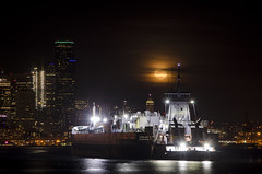 Seattle's Elliott Bay Moon Rise (adcristal) Tags: seattle washington wa downtown nikond7000 nikon18200mmf3556g night center seattlecenter january clouds full moon wolf wolfmoon fullmoon overcast kirby 18501 185 01 tank barge articulated tug atb gunderson marine kirbyoffshoremarine gundersonmarine rise moonrise ship boat tugboat pugetsound puget sound central basin centralbasin portofseattle port