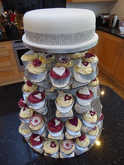 Winter Wedding (Victorious_Sponge) Tags: wedding cupcakes tower burgundy wine hearts flowers sparkle glitter