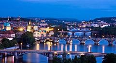 The Bridges of Prague from Above (BOCP) Tags: bridges river vltava charlesbridge prague praha czechrepublic water city cityscape urbanlandscape fromabove letnapark architecture travel bluehour evening
