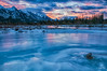 Cool Sunrise (Quincey Deters) Tags: 2015 alberta allrightsreserved canada january jaspernationalpark nature northamerica outdoor winter â©quinceydeters horizontal blue pink landscape mountain river snow ice tree forest rock athabascariver canadianrockymountains jasper morning