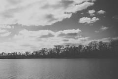 Vast. (Angela.Dee) Tags: lagrangemo wakondastatepark blackandwhite bw lake water trees treeline vast canon 6d 24105mml 24mm cy365 clouds sky