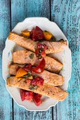 Grilled Salmon with Tomato Caper Vinaigrette (Pamela Greer) Tags: food cooking tomatoes salmon grilling capers bobbyflay