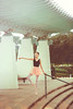 Emmy (Yuri Figuenick) Tags: blue portrait ballet woman green art girl fashion stairs vintage pose asian japanese focus ballerina legs bokeh tights skirt retro portraiture yokohama pillars leotard toeshoes canoneos5dmarkiii
