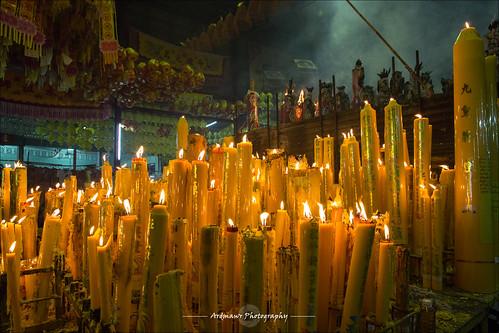 Candles at the Joe Sue Kung Shrine, Yaowarat, Bangkok