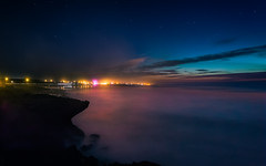 Ain Atiq Beach (aminefassi) Tags: sea sky reflection beach water colors night clouds canon landscape lights star morocco le maroc plage  rabat 6d longexposition poselongue ef1740mmf4l temara skhirat ainatiq aminefassi